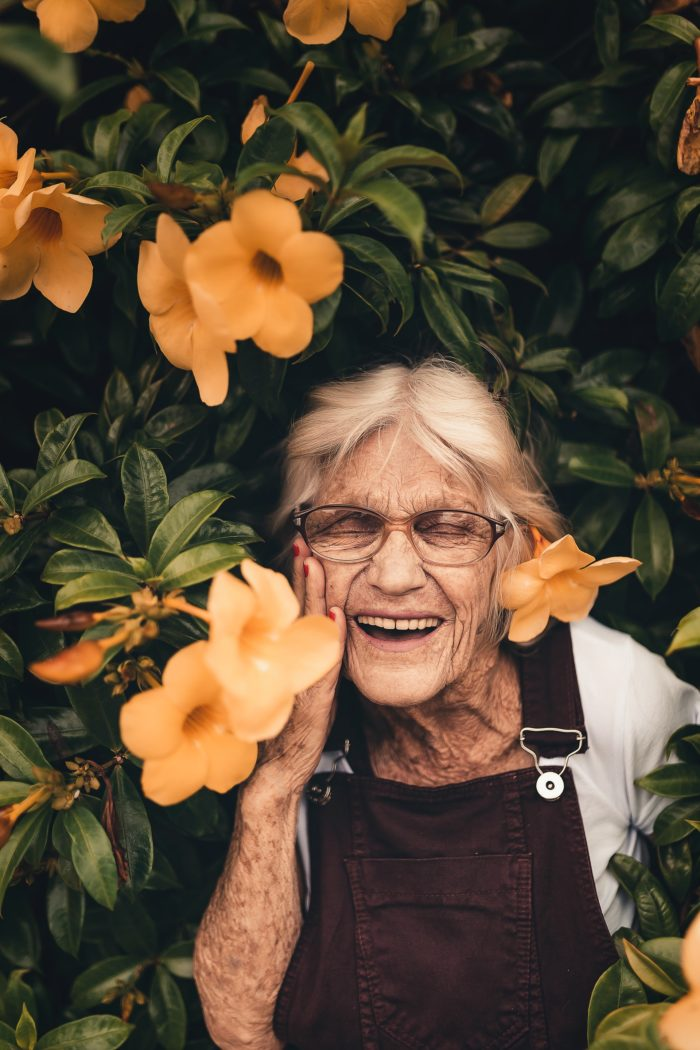 photo of elderly woman gardening